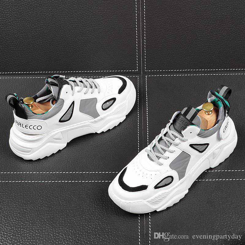 Sonbahar yeni erkek eğilim genç öğrenciler vahşi spor ayakkabı, beyaz basit erkek ayakkabıları