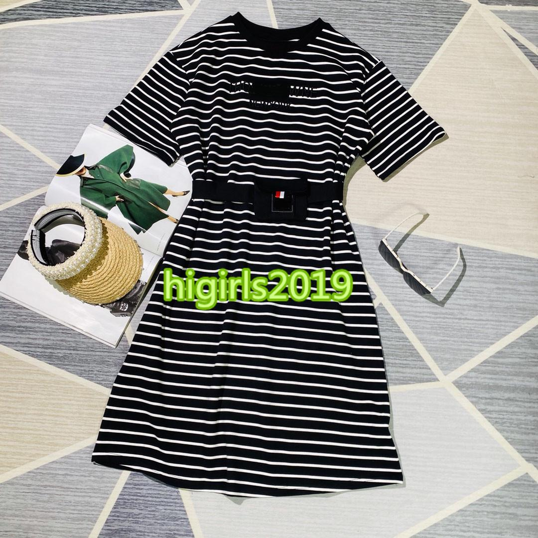 high end women girls shirt dress put together stripe with letter embroidery short sleeve crew neck a-line mini skirt t-shirt dresses