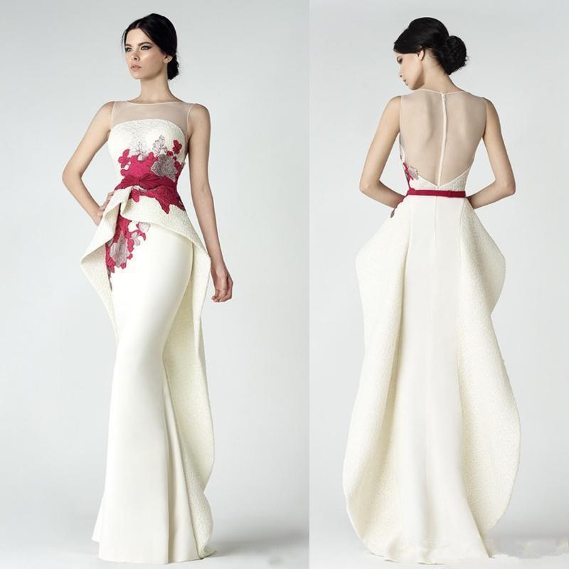 elegante weiße plus Größe Nixe Abendkleider 2020 Abendkleider Partei zu tragen schicke Spitze mit Schößchen Illusion Hals prom Kleider