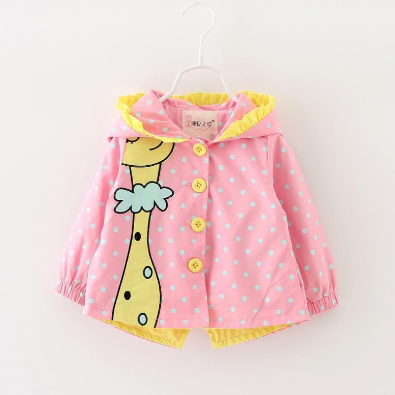Garçons Vêtements d'extérieur 2019 Nouveau printemps et l'automne filles coupe-vent manteau Cartoon girafe capuche bébé Outwear enfants Manteaux Veste Vêtements