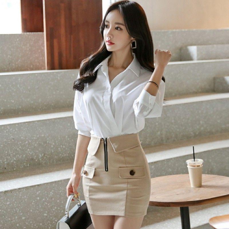 Корейский стиль весна женщины формальные 2 Piese Set 2020 женская мода белый batwing рукав рубашки + мини карандаш Bodycon юбка набор