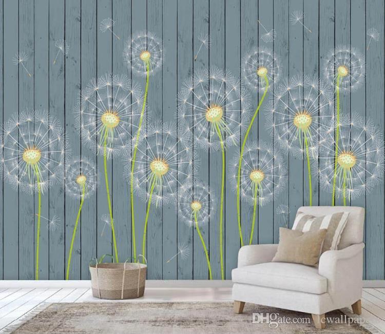 Fondo de pantalla personalizado 3d de la fantasía de diente de león tabla de madera fondo de la pared de fondo del papel pintado mural La televisión de fondo Fondos de sala de estar