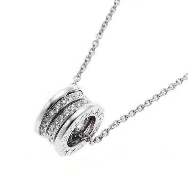 Gros-B.zero1 S925 argent sterling pleine cristal trois couches Collier Rond cylindre pendentif pour femmes Bijoux