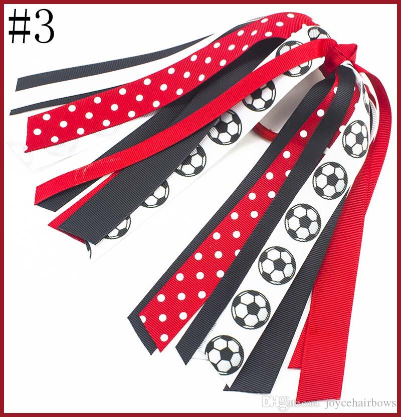 free shipping 15pcs football Hair Ribbon, softball Hair Streamer, Custom baseball Pony Tail Streamer Hair Bow School Spirit Cheer