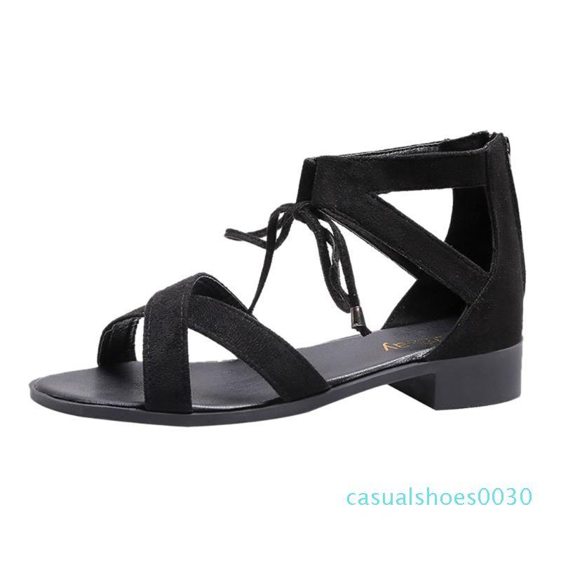 Flock Zipper Piazza tacco sandalo donna classici solidi donne Strap Croce Estate Calzature chaussures Femme sandalo C30