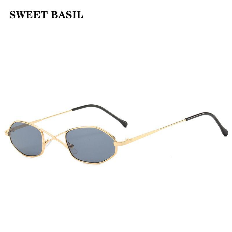 Базилик 2020 новые тенденции овальный Малые солнечные очки женщин металлический каркас Марка Дизайнер X двухлучевой ВС очки Круглые очки UV400