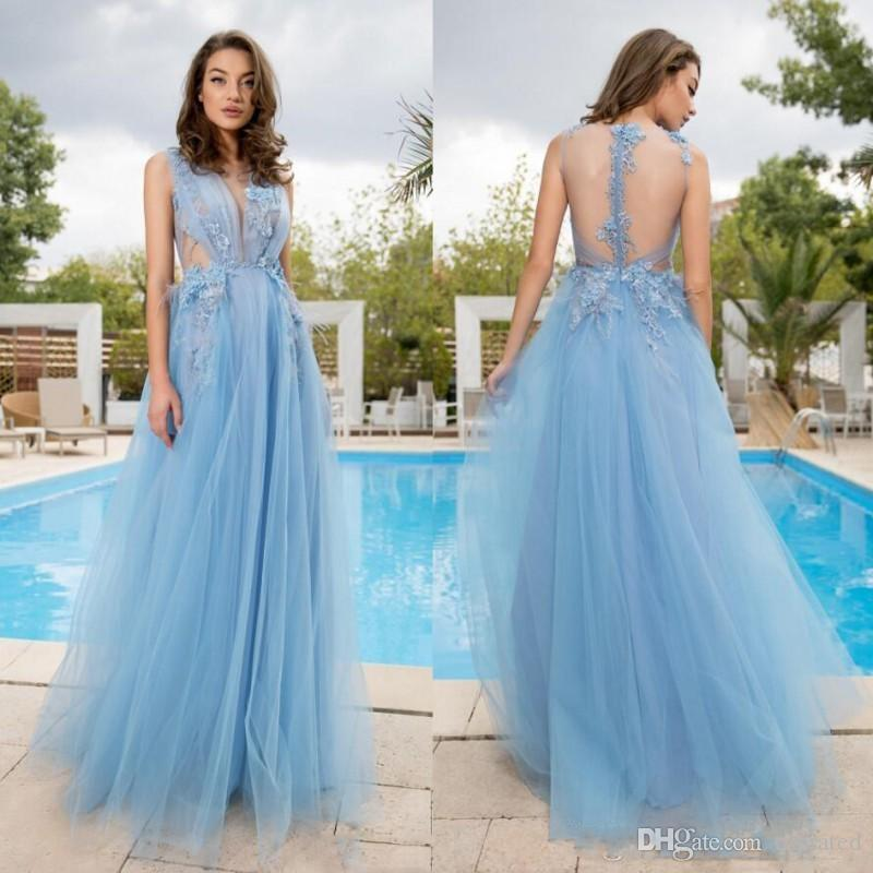 2019 Light Sky Blue Evening Dress Lace Appliques Ruffles Tulle Prom Dresses Sheer Back Sleeveless Cheap Formal Party Gowns