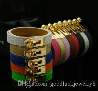 Accesorios de joyería hebilla de oro pulsera de Pulstras de las mujeres de múltiples capas de la vendimia cuero de la PU de H Brazalete Pulsera Hombres Hombre Hombres