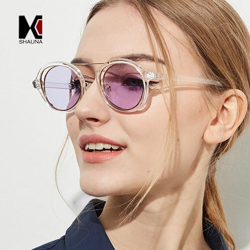 Linse Großhandel doppelt gelbe einzigartige Töne Mode Frauen Männer Klar Felgen UV400 Runde Sonnenbrille FFFQP
