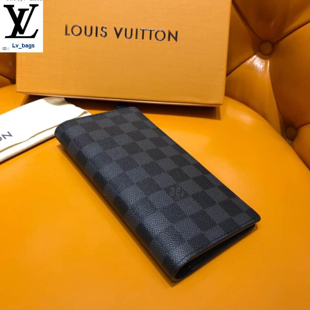 Yangzizhi New Black Checkerboard Long Section Fold Brazza Wallet N62665 Long Wallet Chain Wallets Compact Purse Clutches Evening Key