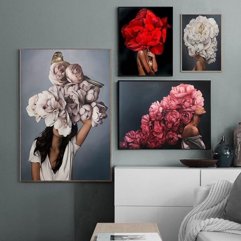 Mode Floral plume Femme Peinture à l'huile sur toile nue Sexy Girl Poster Prints Résumé Figure Wall Art Image Chambre Décoration moderne