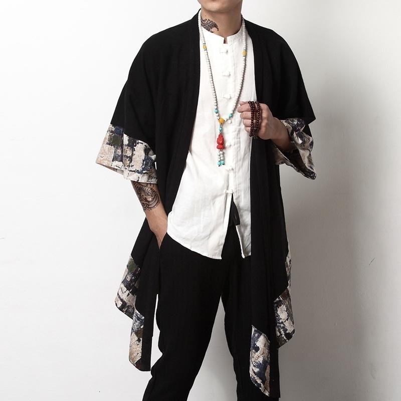 ropa streetwear japonés hombres chaqueta kimono yukata harajuku los hombres chaqueta de bombardero traditonal Chinesejackets para los hombres A001 LY191206