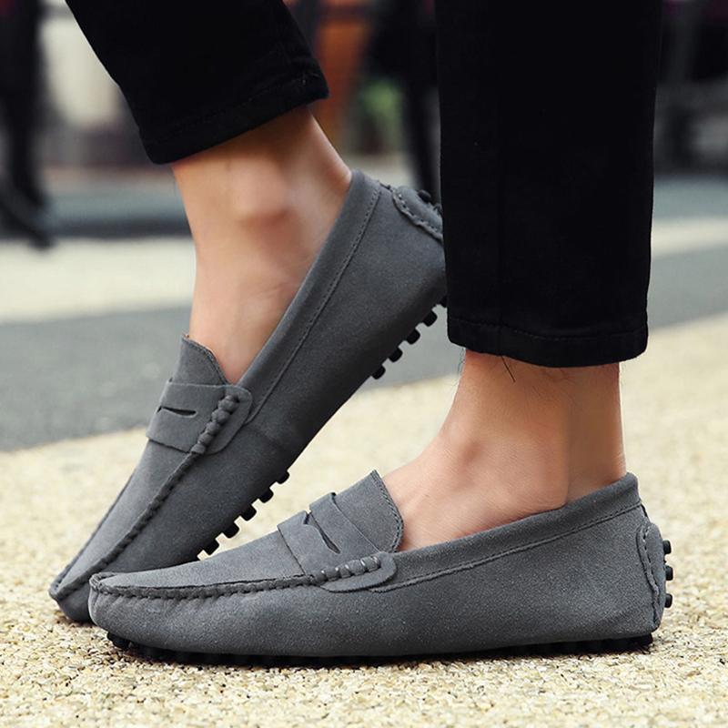 Марка кожа Повседневная обувь Мужчины Европа Америка Большой размер 47 48 49 Горох Мужчины обувь высокого качества Удобная вождения обувь кроссовки
