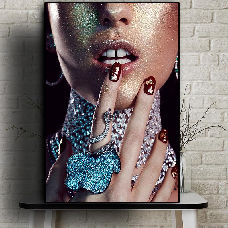 Lèvres rouges sexy Fourchette et Nu Bague Art Femme Peinture à l'huile sur toile Affiches Cuadros et Gravures Wall Art Image pour Salon