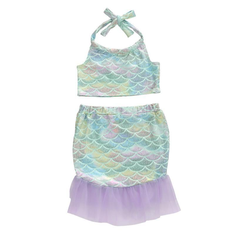 Newborn Baby Girls 2 Pcs Mermaid Costumes Halter Tube Top + Mermaid Tail Skirt Toddler Girls Outfit