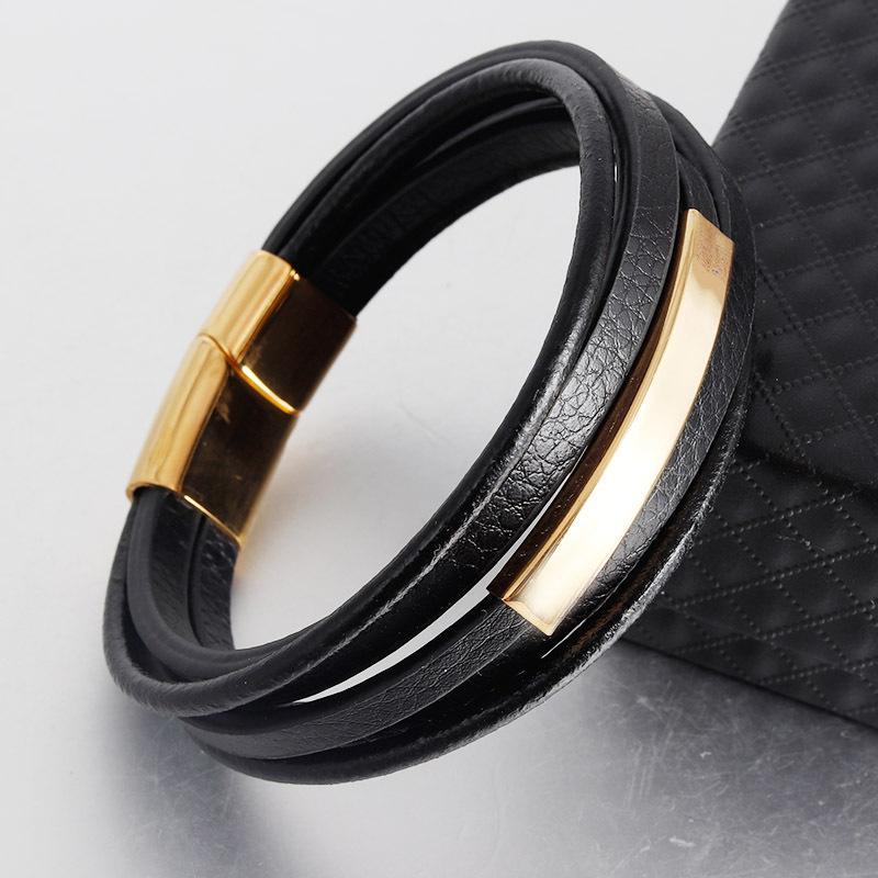Multistrato regalo Bracciali magnete Handmade Genuine Leather monili classici del braccialetto di fascino per gli uomini a mano per i ragazzi freddi