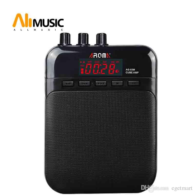 AROMA AG-03M Guitar Cube AMP 5W Amplifier Output Built-in Rechargeable Battery Black