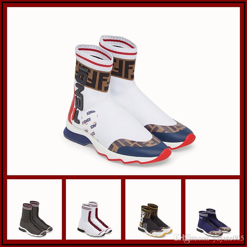 2018 Unisex Sapatos Casuais Moda Meias de Luxo Botas de Mulher Novo Slip-on Pano Elástico Speed Trainer Man Running Shoes 35-45