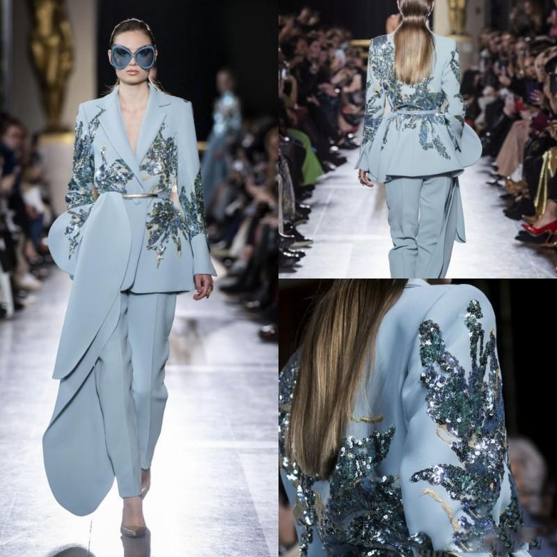 Elie Saab 2019 Jumpsuits Evening Dresses Light Blue Sequined Beads V Neck Prom Gowns Satin Long Sleeve Party Dress