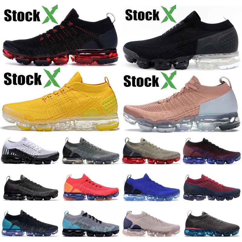 2019 Nike Vapormax Flyknit Zebra Knit 2.0 Chaussures De Course Blanc Vaste Gris Poussiéreux Cactus Métallisé Or Hommes Femmes Formateur Designer Sneakers Nous 5.5-11