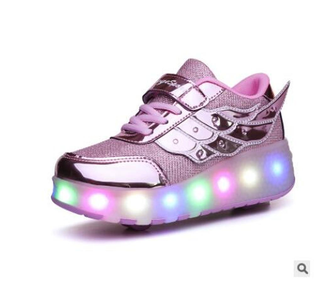 Children Junior Roller Skate Shoes Kids Elastic band Sneakers Two Wheels Casual
