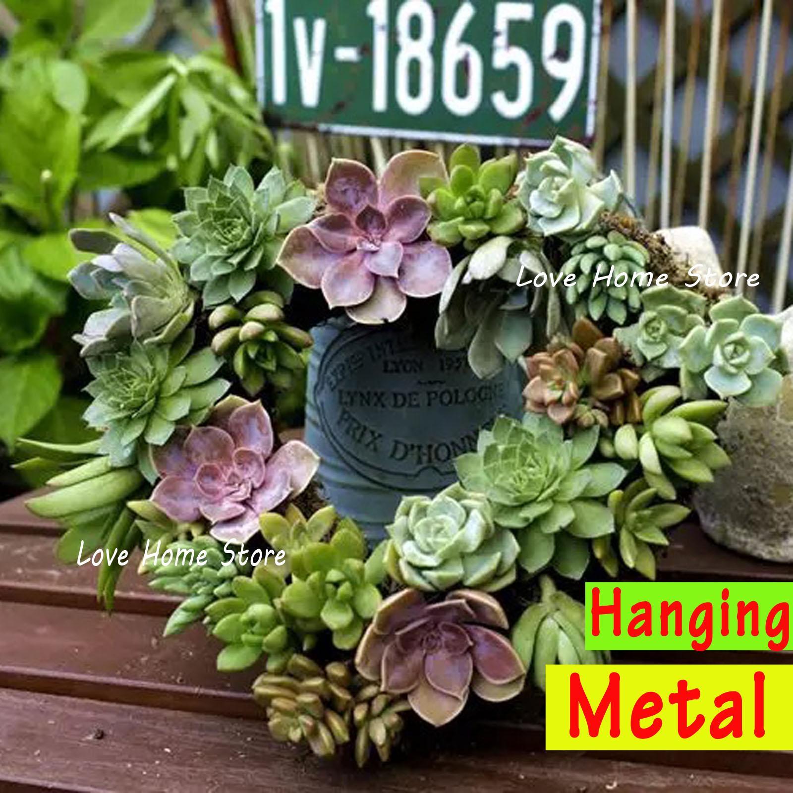 2020 Vintage Heart Hanging Planter Rusted Metal Basket Plant