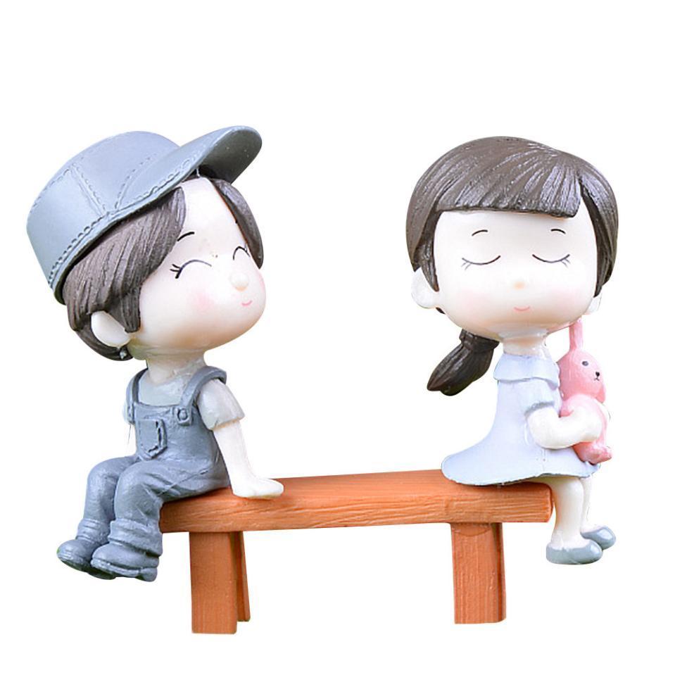 1pair Sweety Couple Lovers Le président Figurines miniature Artisanat Fée Jardin Gnome Moss Terrarium Ornement bricolage cadeau jardin Décor