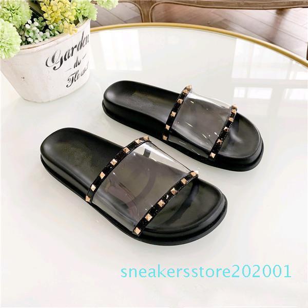 Top zapatillas mujeres del diseñador de la calidad del deslizador de la sandalia originales de las mujeres del diseñador de moda de cuero sandalias de los zapatos se deslizan S01