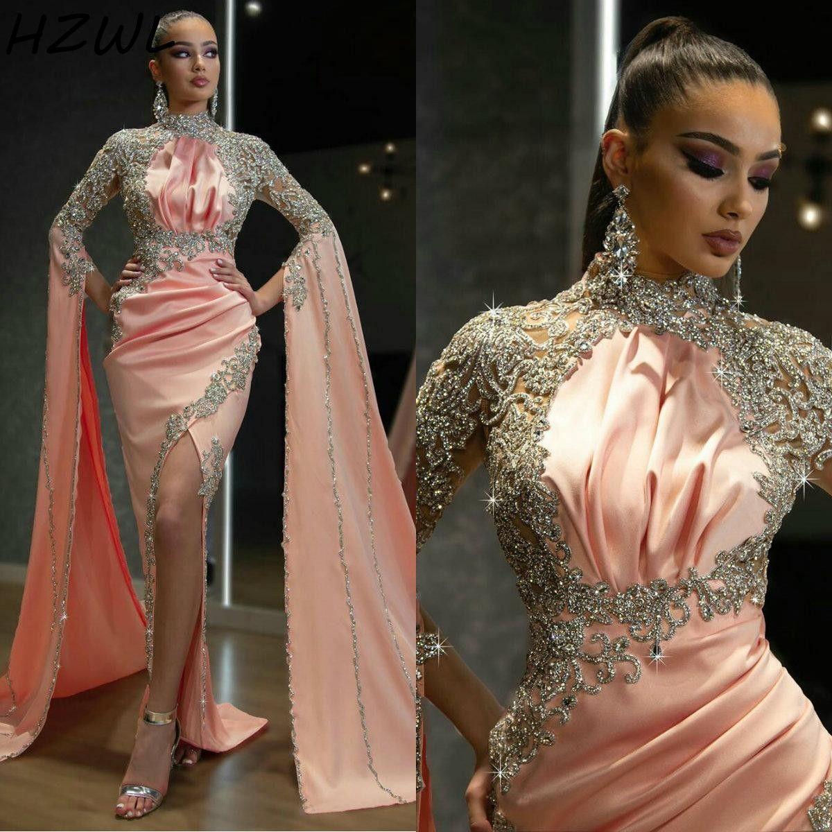 Aso Ebi Muslim Prom Dresses Long Sleeves Side Split High Neck Pleats Sparkle Beaded Mermaid Evening Gowns Vestidos Arabic Party Dress