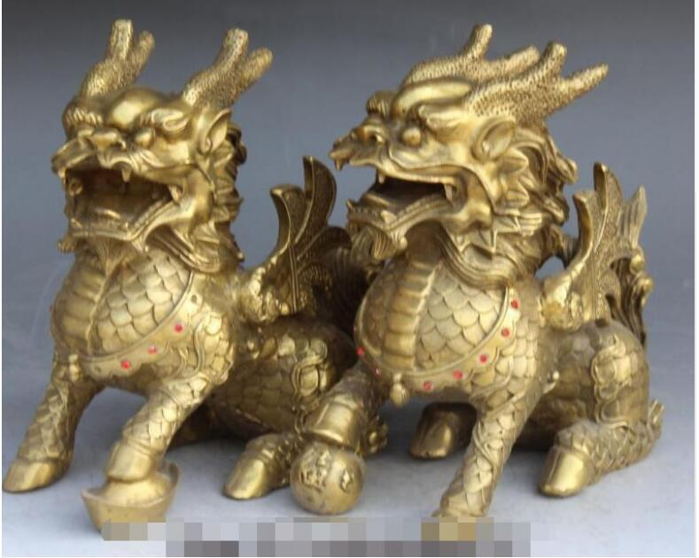 NEW + China Bronze FengShui Wealth Guardian beast Kylin unicorn PiXiu Statue Pair