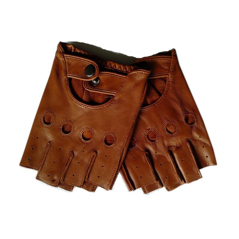 High Quality Black Men Genuine Leather Gloves Slip-resistant Luvas Half Finger Sheep Leather Fingerless Gloves Gants Moto L01 T190618