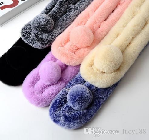 Han edição artificial lã de imitação coelho gola de pele feminina de pelúcia de imitação coelho cabelo três estudantes lenço inverno quente pele falsa
