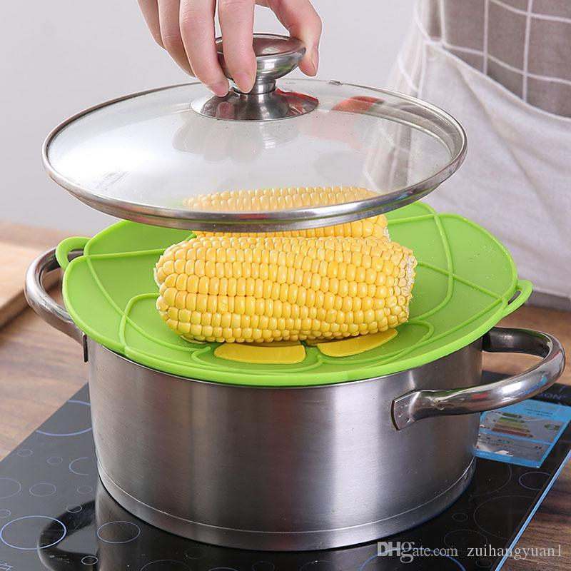 Silicone lid Spill Stopper Cover For Pot Pan Kitchen Accessories Cooking