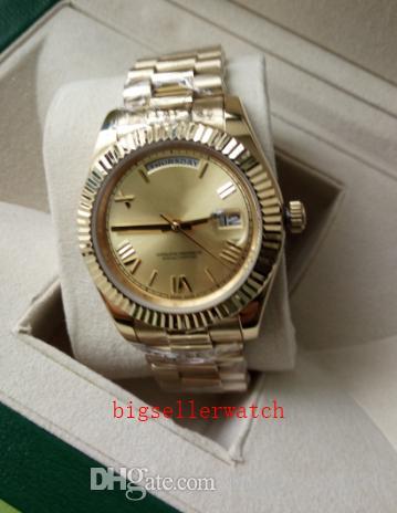 Рождественский подарок оригинальный футляр сертификат повседневная современные мужские часы день дата 228238 президент 40 мм желтое золото шампанское Римский циферблат часы