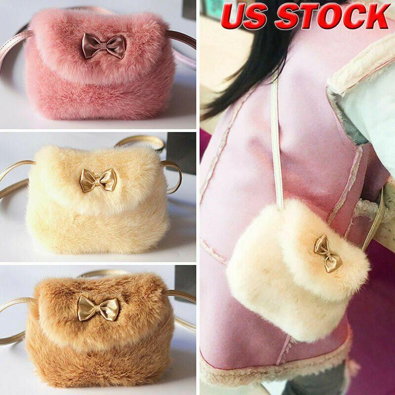 5 Farben Neue Mädchen Kinder Geldbörse Bowknot Mini Kunstpelz Kinder Handtaschen Cross Body Komfortable Nette Kinder Handtasche