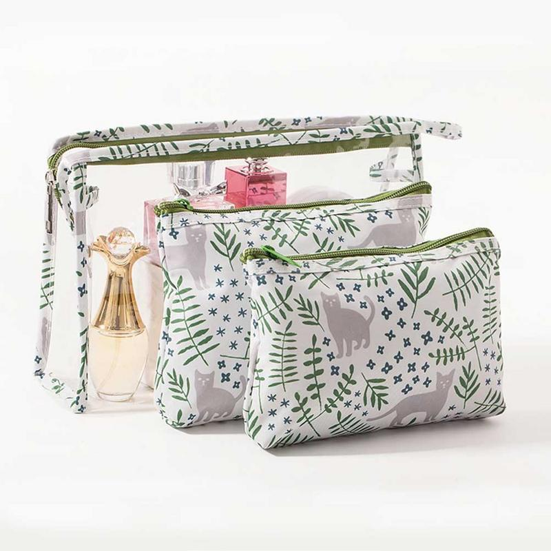 Transparent Clear PVC Three Pieces Cosmetic Bag Makeup Pack Portable Waterproof Dust Travel Wash Kit Large Capacity Toiletry Bag