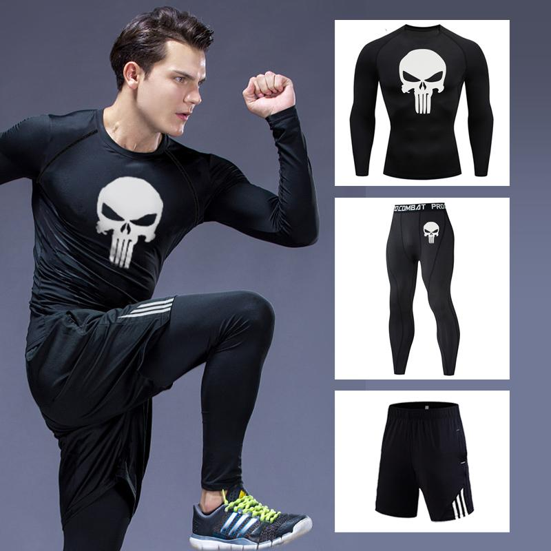 Thermal underwear underpants Men's long johns winter thermal underwear 3D skull Compression tights Base layer slim joggers men's