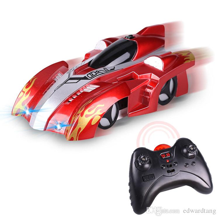 EMT ST3 Infrared Remote Control Wall Climbing Stunt Car Toy, Electric Suction Climb Glass, 360° Rotate, LED Lights, Christmas Kid Gift, 2-1
