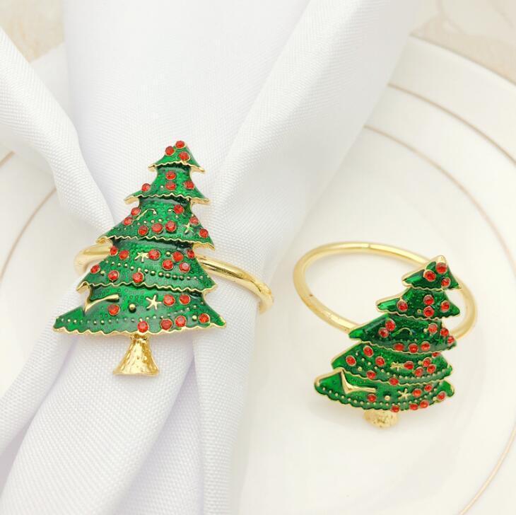 Arbre de Noël serviette boucle Tissu anneau serviettes de Noël série anneau serviette anneau métal papier anneaux serviette boucle
