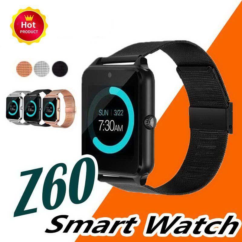 Смарт-Часы Z60 Bluetooth Браслет Поддержка SIM TF Карта Камеры Телефонный Звонок Часы Из Нержавеющей Стали Фитнес-Трекер Smartwatch Для Android IOS