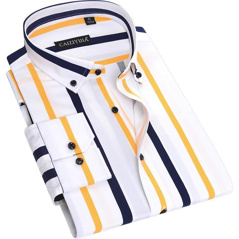 Çizgili Gömlek Erkek Uzun Kollu Kore İş Casual Sonbahar Gömlek Kaban Slim Fit Erkek Erkekler Sonbahar Baskı 50cs