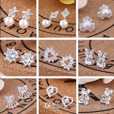 2019 Diseñador de lujo de las mujeres perla diamante Stud Earrings amor orejas de conejo Pentagrama de Apple forma de flor pendientes
