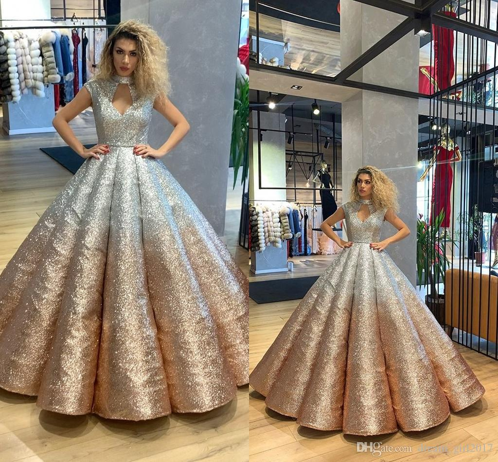 elegant gold ball gown evening gowns sequined 2020 evening