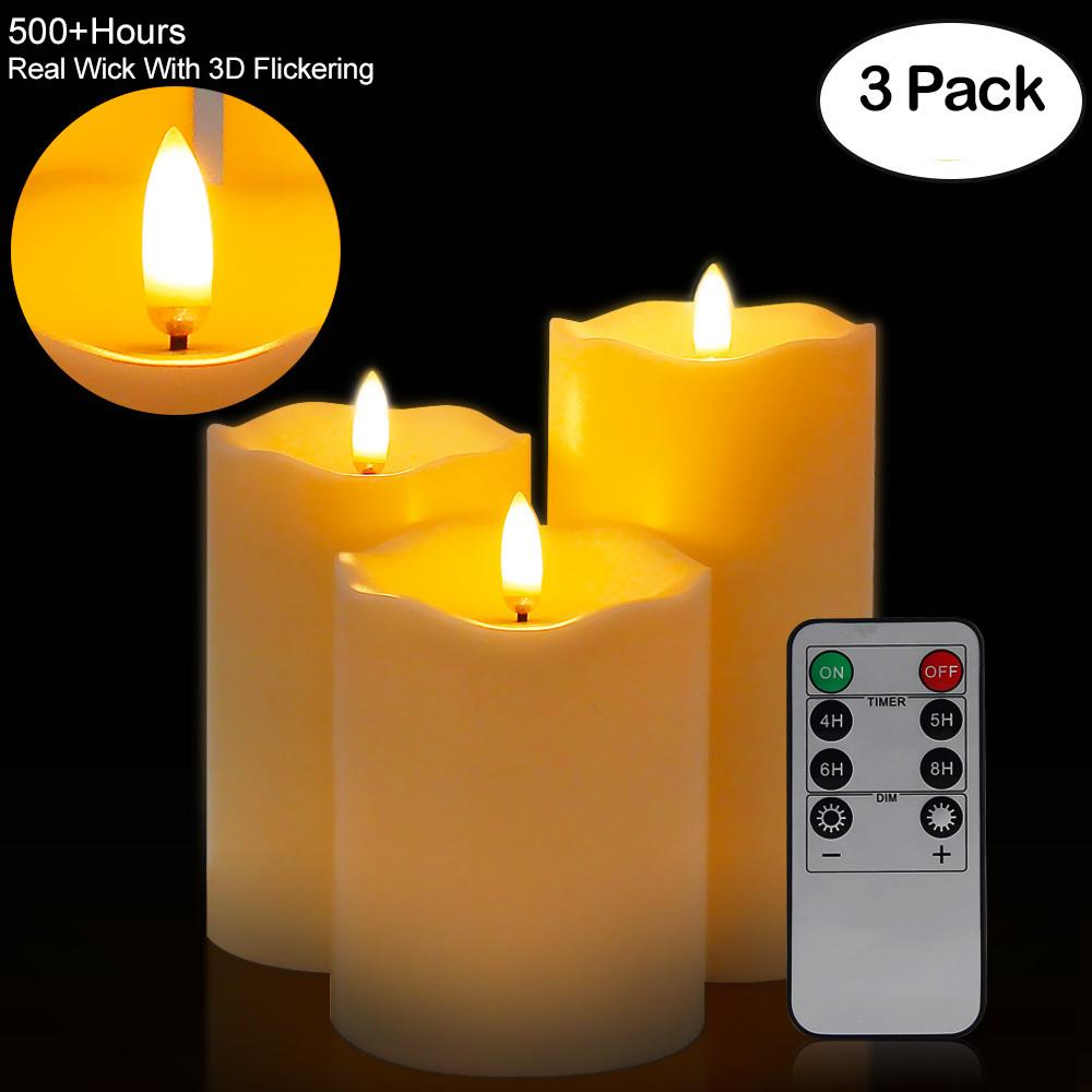 3Pcs / Set Télécommande LED sans flamme photophores Nouvel An Bougies batterie puissance LED thé lumières de Pâques Bougie avec emballage T200601