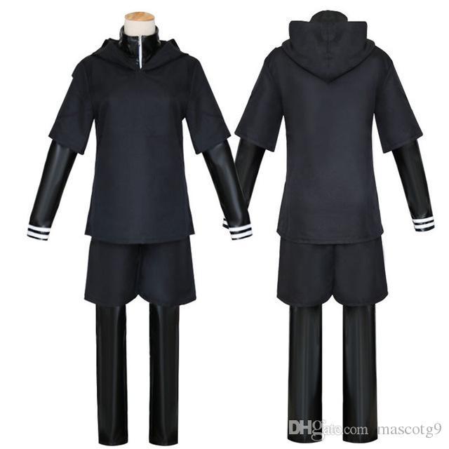 Anime Tokyo Ghoul Costumi Cosplay Kaneki Ken Costumi Cosplay Felpa con cappuccio Giacche Uniforme da combattimento nero Set completo con maschera