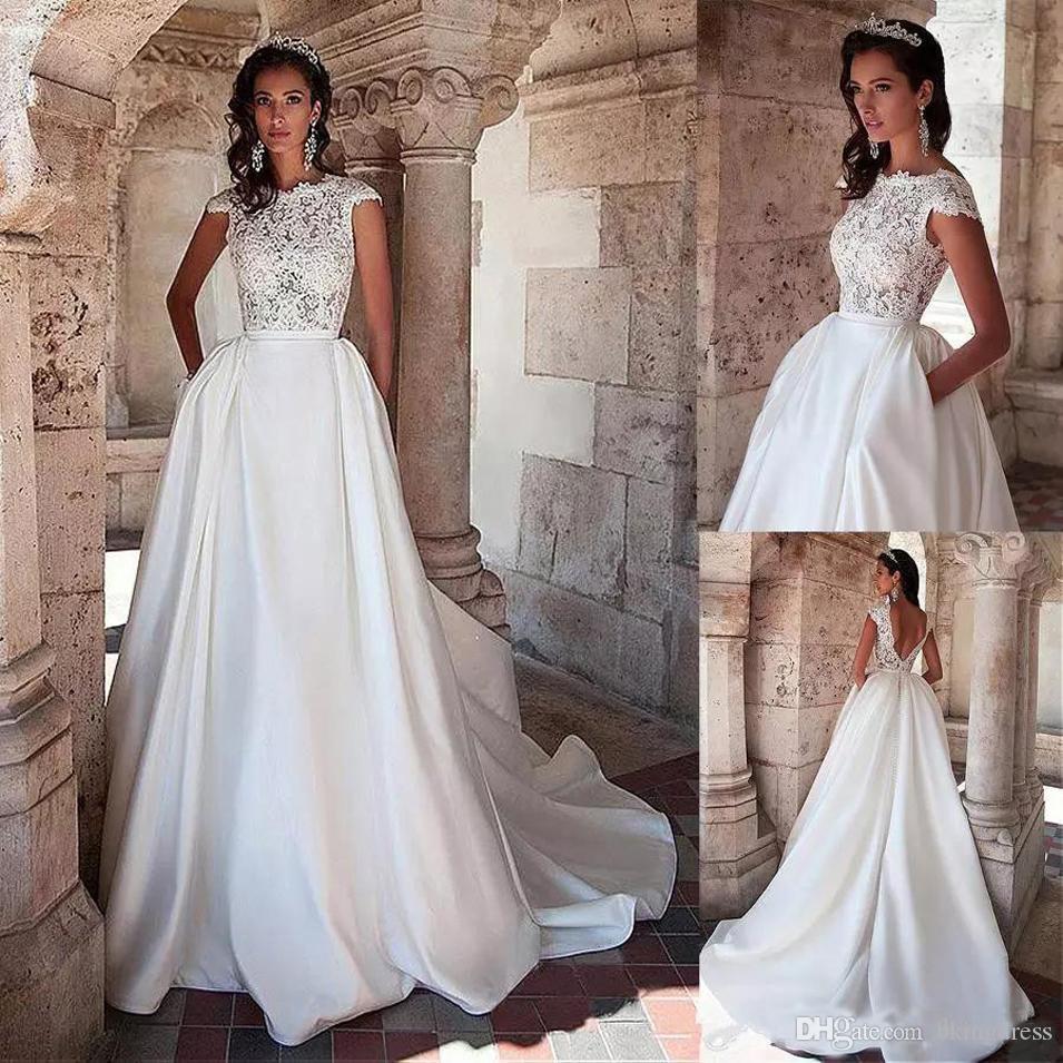 Graciosas Applique Vestidos de casamento Jewel 2020 Sexy Backless mangas Vestidos de casamento simples de cetim vestidos de noiva Vestidos de novia
