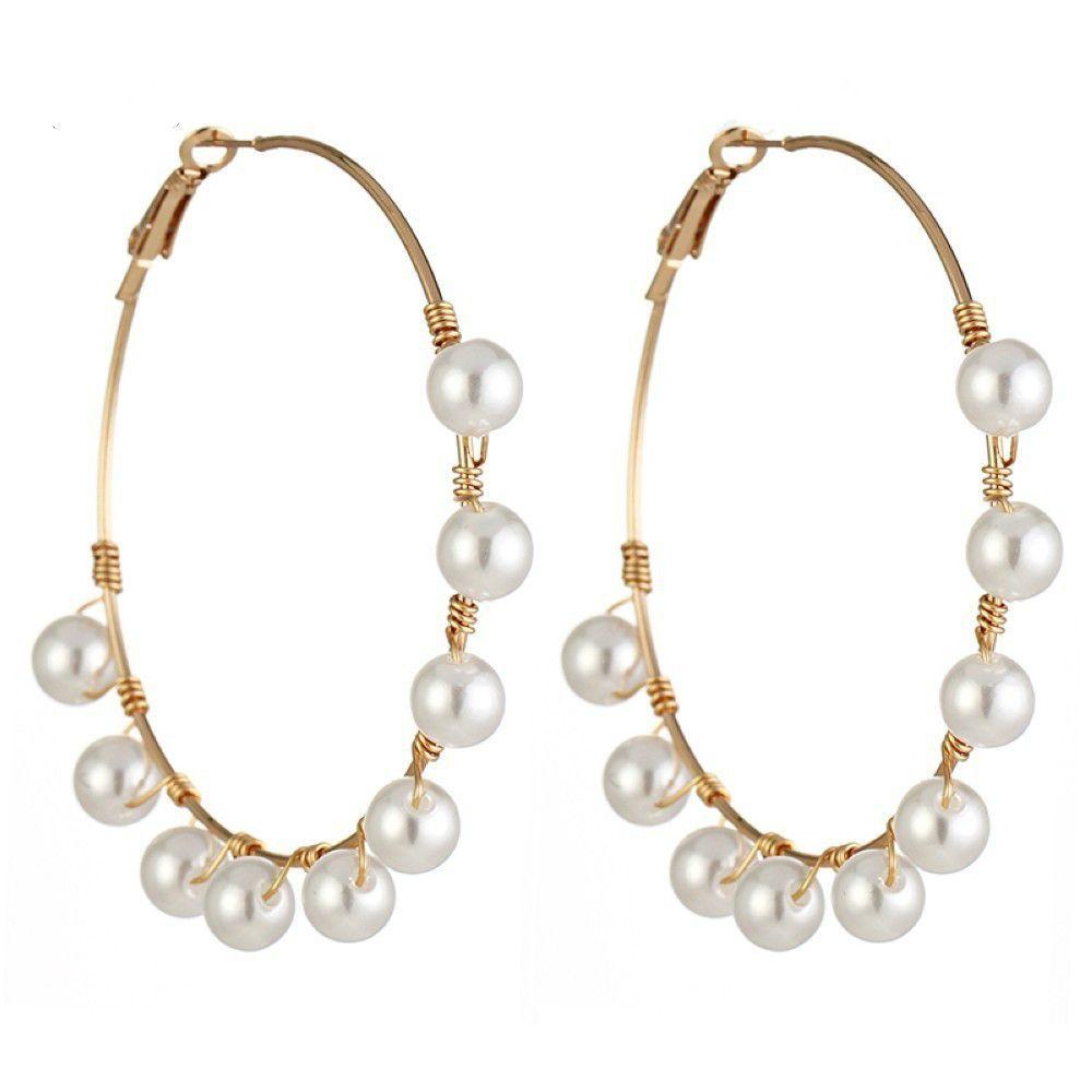 BIG LONG Earrings Balls Beads Gold Drop Dangle Party Statement Round Lightweight