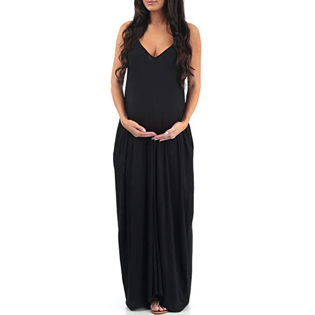 Robes de maternité Été Femmes Enceintes Grossesse Vêtements Plus Taille Coton V-Col V-Col Vendeur Solide Longue Robe d'allaitement