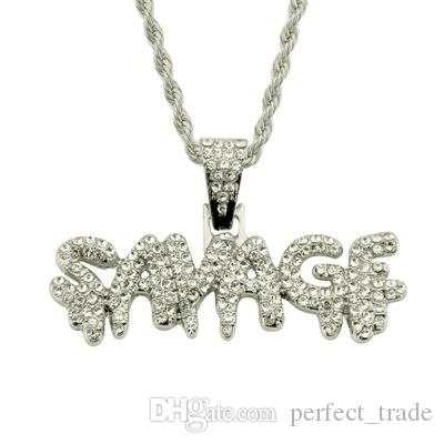 Wholesale Shining Rhinestone Necklace Letter Necklace Fashion Mens Necklaces Cuban Chain Jewelry Gift Slidable Free Shipping