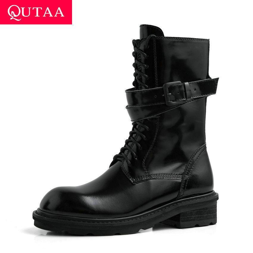 QUTAA 2020 Kuh-Leder Lackleder Schnalle Antiskid Kurze Stiefel Platz Heel Round Toe Lace Up Reißverschluss-Frauen-Schuh-Größe 34-39 T200111